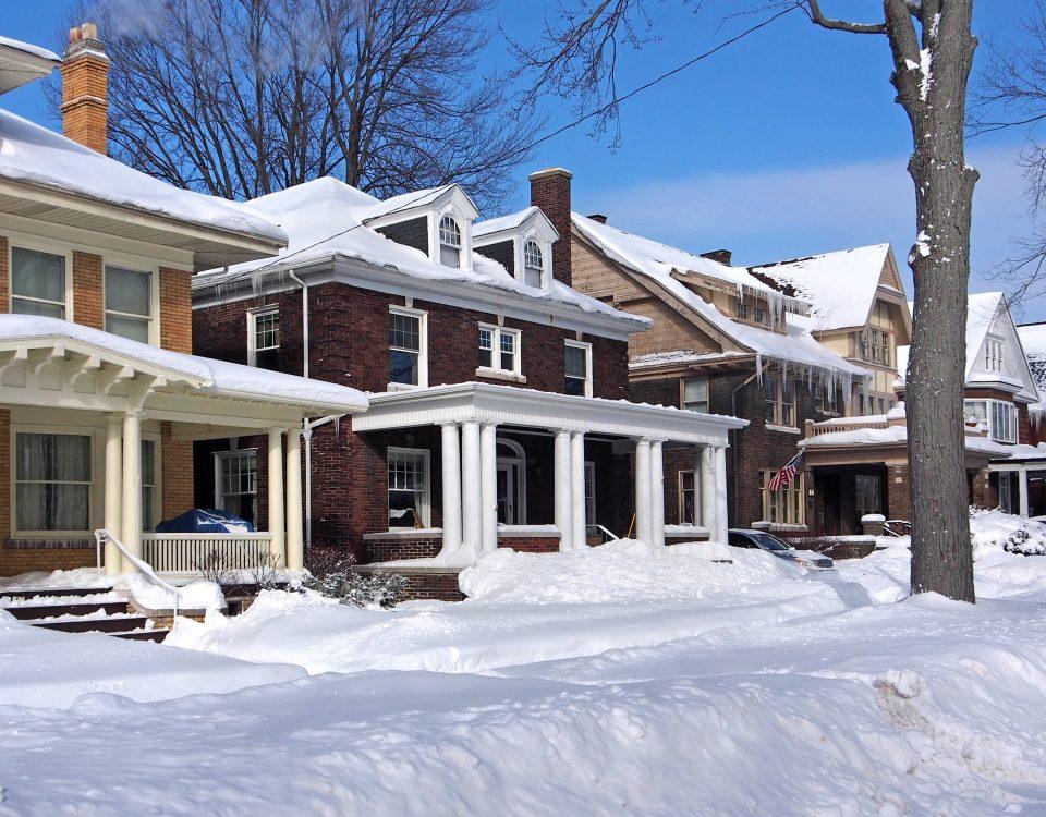 Neighborhood after a snowstorm