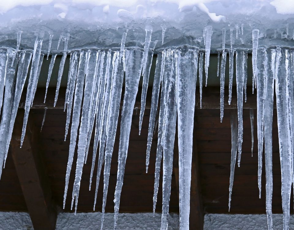 Ice Dam on the Roof of a Home